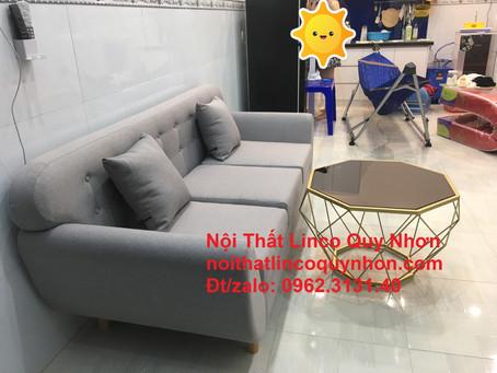 Bộ ghế sofa băng (văng) dài xám ghi trắng Nội thất Linco tại khu công nghiệp nhơn bình, Quy Nhơn