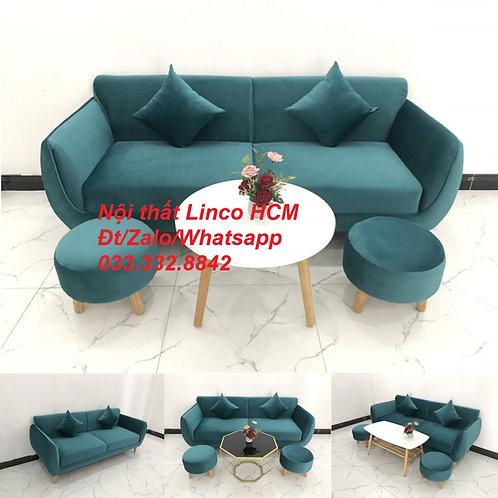 Bộ ghế sofa băng văng 1m9 xanh cổ vịt lá cây hiện đại Nội thất Linco Tphcm HCM