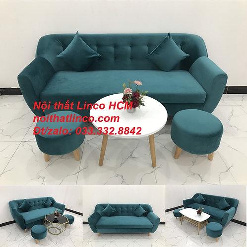 Bộ ghế sofa băng văng dài vải nhung đẹp sang trọng Tphcm