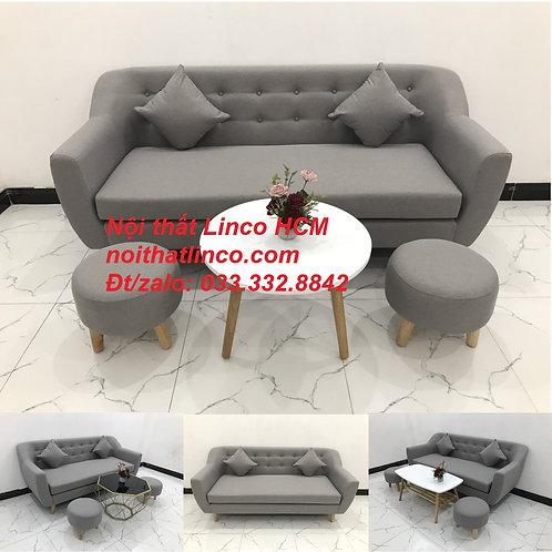 Bộ ghế sofa băng phòng khách giá rẻ màu xám ghi trắng Tphcm