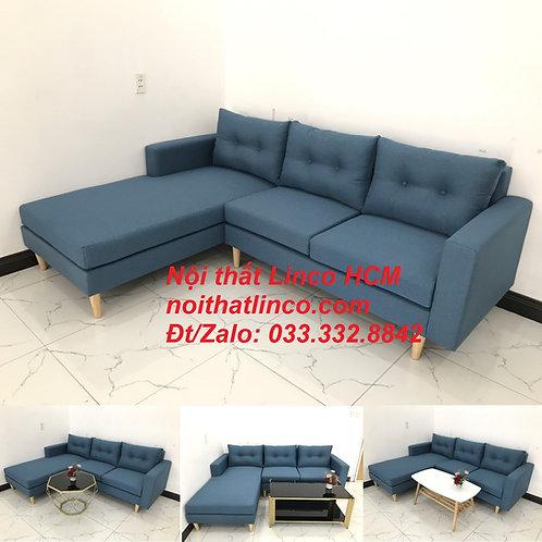 Bộ ghế sofa góc phòng khách | Sofa góc L xanh dương giá rẻ | Nội thất Linco HCM