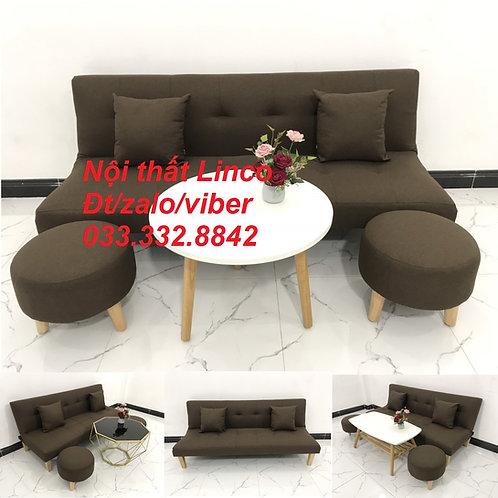 Bộ ghế sofa giường bed màu nâu cafe sữa đậm đen rẻ nhỏ mini Nội thất Linco HCM