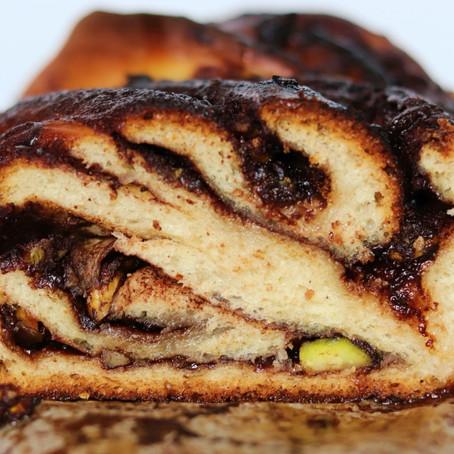 Pistachio, Cardamom, and Chocolate Babka