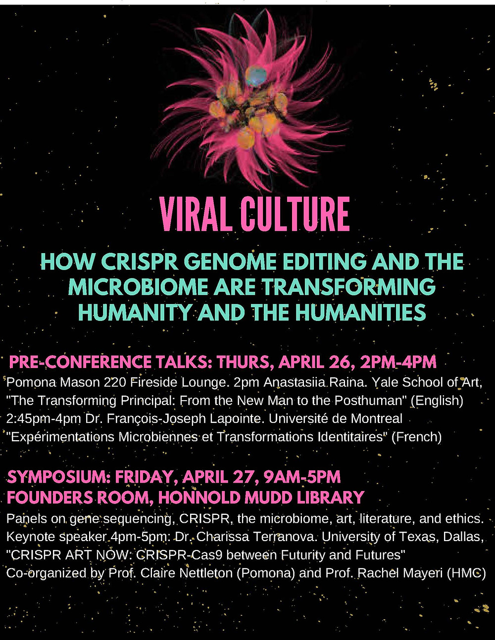 "Join me at Pomona College in Claremont, California where I am giving the keynote address, ""CRISPR ART NOW: CRISPR-Cas9 between Futurity and Futures""!"