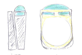 Beginning sketch of wedding bands