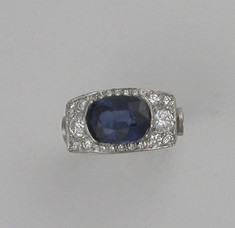 Sapphire and diamond ring at completion