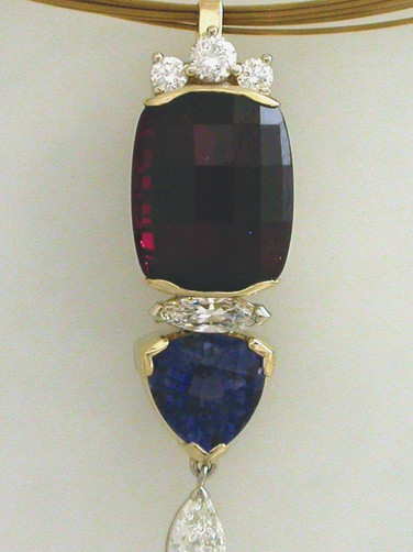 Garnet, Tanzanite, Diamond Pendant