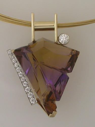 Fancy Cut Ametrine and Diamond Pendant