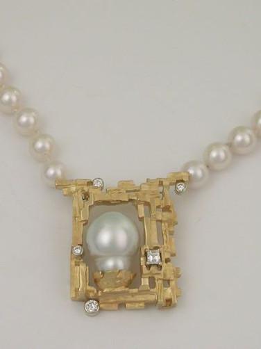 Baroque Pearl and Diamond Pendant