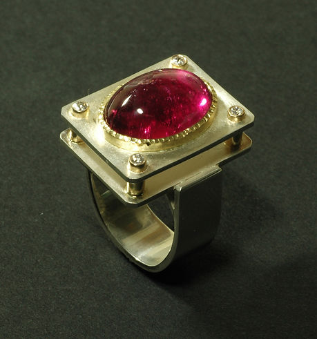 Tourmaline, Diamond, Silver Ring