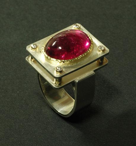 Tourmaline, Diamond, Silver Ring