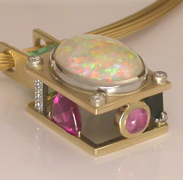 Opal, Emerald, Tourmaline and Diamond Pendant