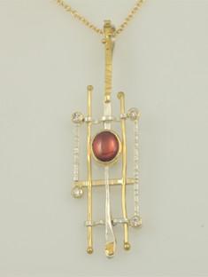 Spessartite Garnet, Diamond Pendant