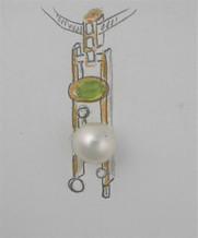 Peridot and Pearl pendant sketch