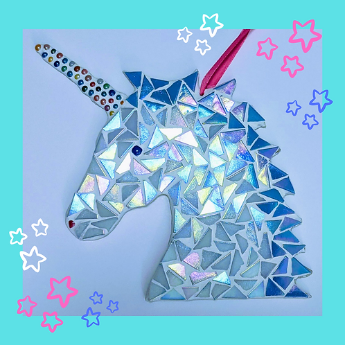 White Iridescent Hanging Unicorn Mosaic Kit with Stars