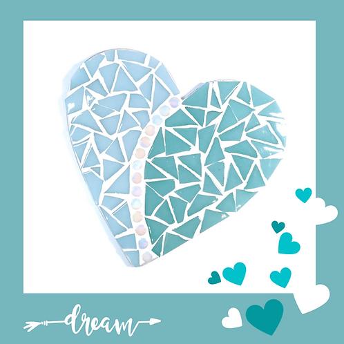 Pale Blue and Teal Love heart Mosaic Kit