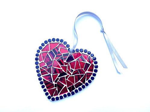 Pink and Blue Handmade Mosaic Heart