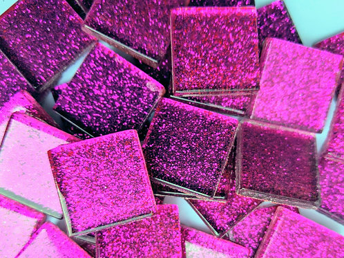 Mosaic Tiles - Glitter Pink Sparkle - Shiny Smooth Glass - 23mm