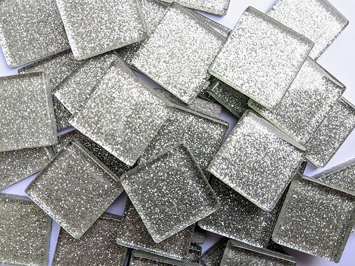 Glitter Mosaic Tile - Silver Sparkle - Shiny Smooth Glass - 23mm - Craft Art Act