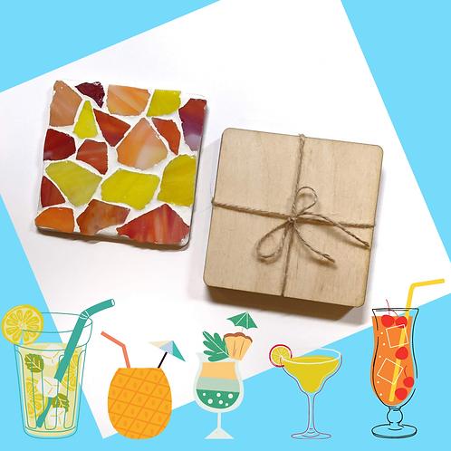 Orange and Yellow Sea Glass Coaster Mosaic Kit