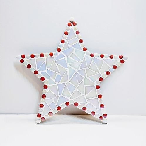 Mosaic Star Kit - Hanging Decoration - White Iridescent Tiles - Pink & Turquoise