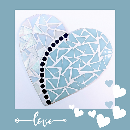 Light blue and white Iridescent Love Heart Mosaic Kit