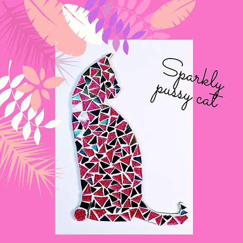 Pink and Black Sparkling Glittery Cat Mosaic Kit
