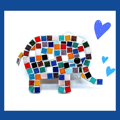 Multi coloured African elephant family mosaic kit