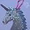 Thumbnail: White Iridescent Hanging Unicorn Mosaic Kit with Stars