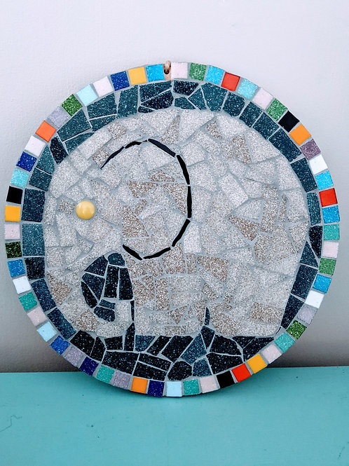 Grey Round African Elephant Mosaic Kit