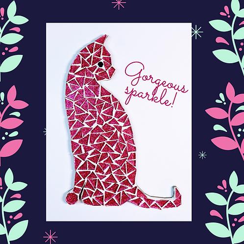 Sparkling Glittery Pink Cat Mosaic Kit