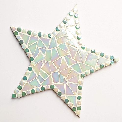 Hanging Star Mosaic - Iridescent White Shimmer,  Pink & Turquoise Dots