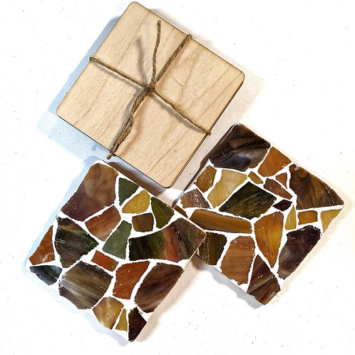 Warm Earthy Sea Glass 4 Pack Coaster Mosaic Kit