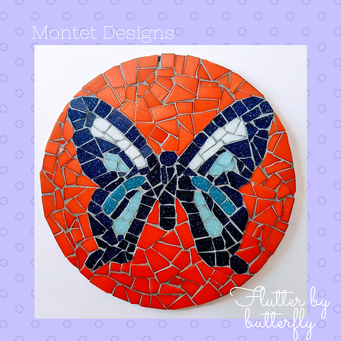 Blue and Deep Orange & Red Butterfly Mosaic Kit