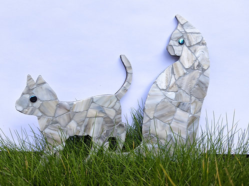 Cat and Kitten - Grey and White - Handmade Mosaics