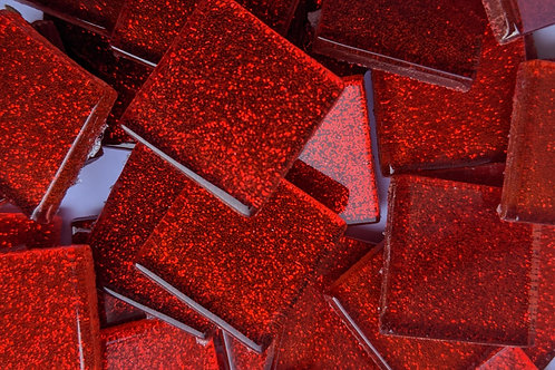 Mosaic Tile - Glitter Red Sparkle - Shiny Smooth Glass - 23mm