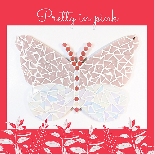 Pink and White Butterfly Mosaic Kit