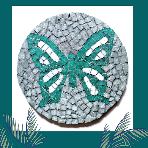 Turquoise and Grey Round Butterfly Mosaic Kit