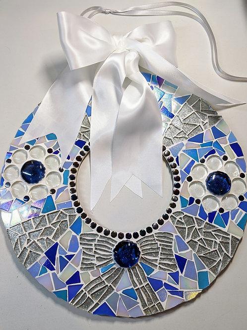 Wreath - Blue Silver & White Hanging Door Wreath