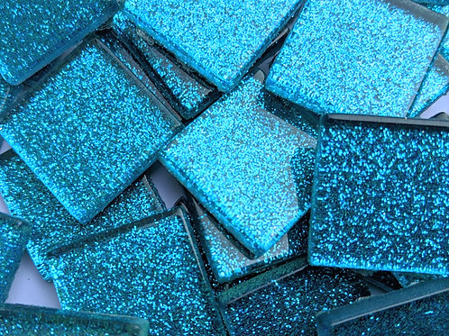 Mosaic Tiles - Glitter Blue Sparkle - Shiny Smooth Glass - 23mm