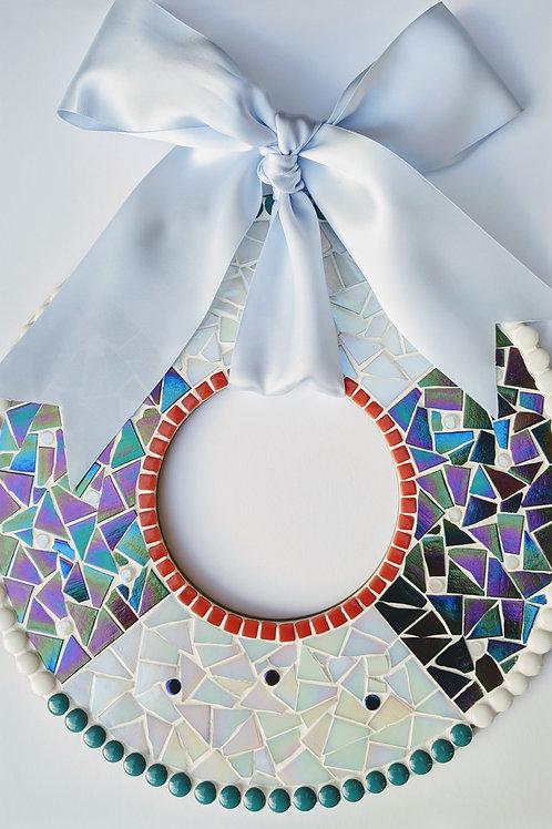 Christmas Wreath Mosaic Kit - Black Iridescent & White