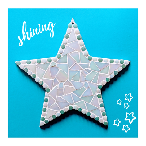 Handmade White Iridescent Hanging Star Mosaic with Light Teal Dots