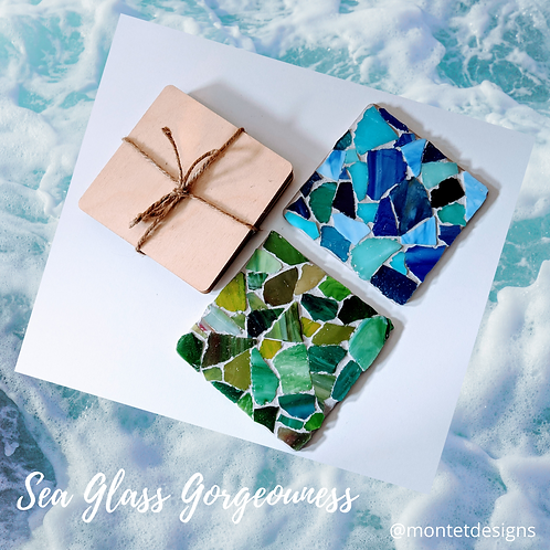 Blues and Greens Sea glass Mosaic Coaster Kit