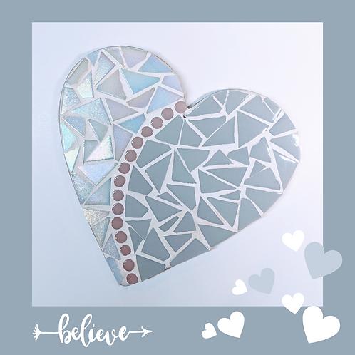 Light Grey and White Iridescent Love Heart Mosaic Kit
