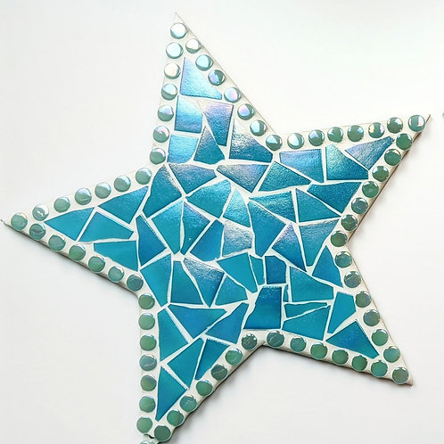 Hanging Star Mosaic - Iridescent Turquoise Shimmer