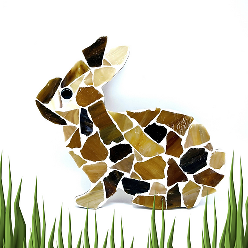 Bunny Rabbit Mosaic Kit - Brown & Cream Sea Glass