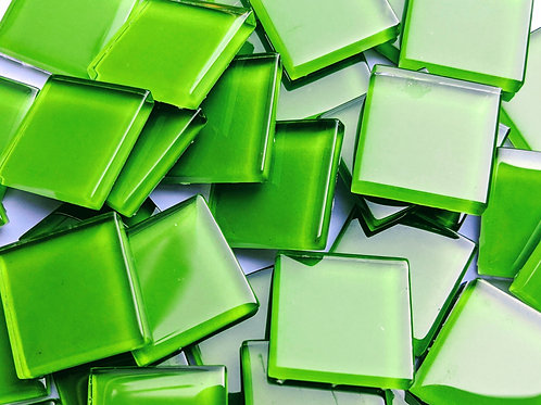 Mosaic Tile - Bright Green - Shiny Smooth Glass - High Shine - 23mm