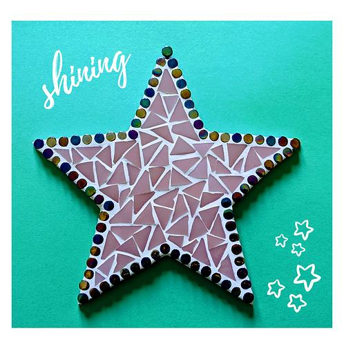 Pink and Black Iridescent Dots Hanging Star Mosaic Kit