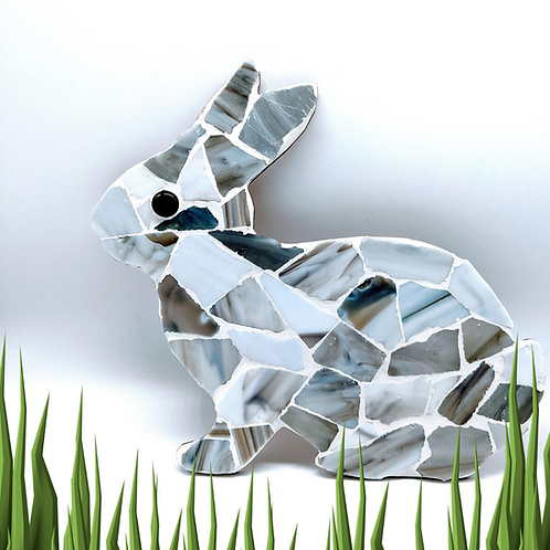 Bunny Rabbit Mosaic Kit - Grey and White Sea Glass