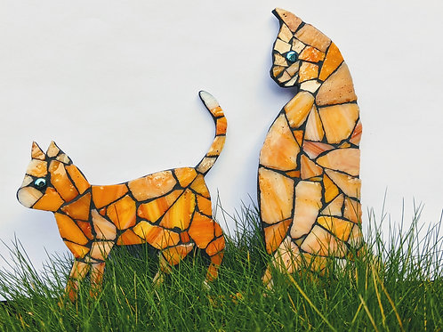 Cat and Kitten - Handmade Mosaic - Orange Tones